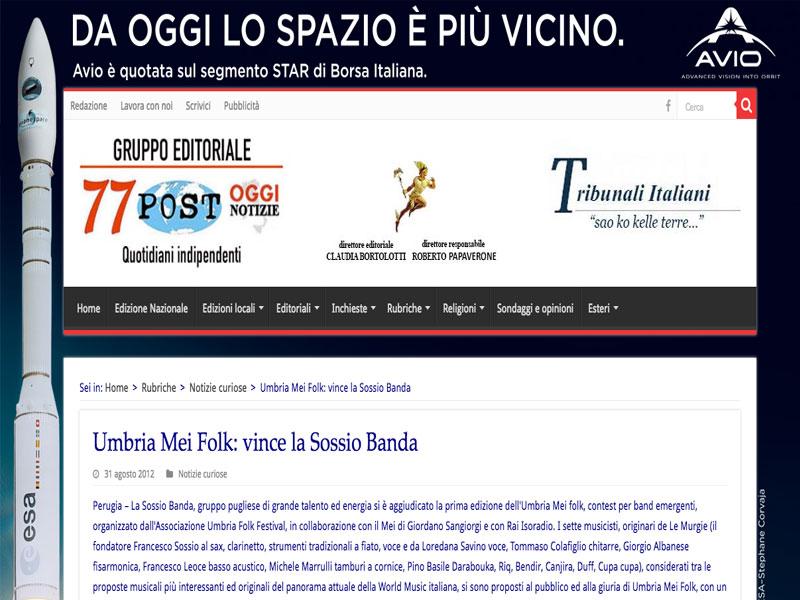 OGGI NOTIZIE.IT: Umbria Mei Folk, vince la Sossio Banda