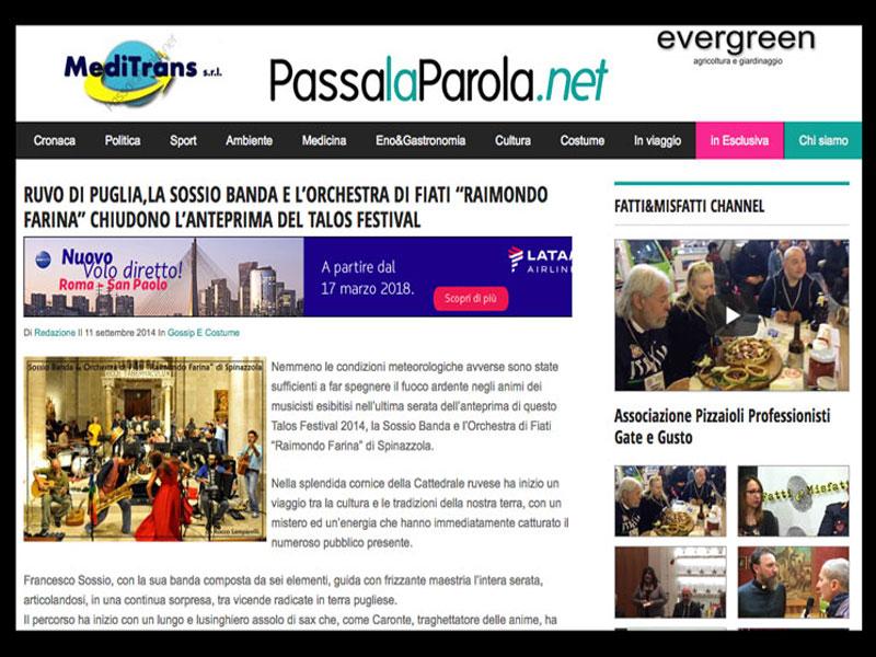 PASSALAPAROLA.NET: Sossio Banda chiude il Talos Festival 2014